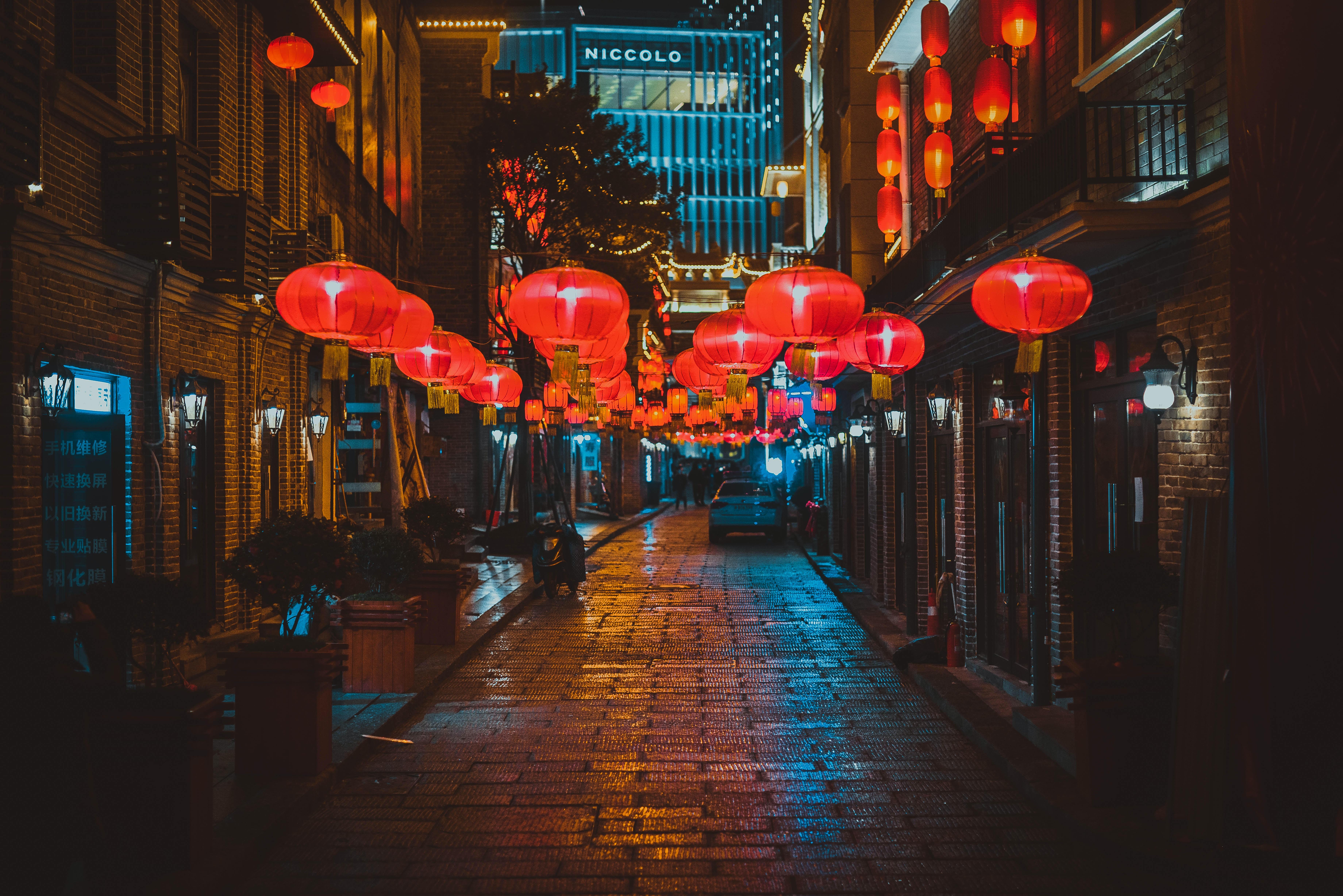 red lanterns turned on