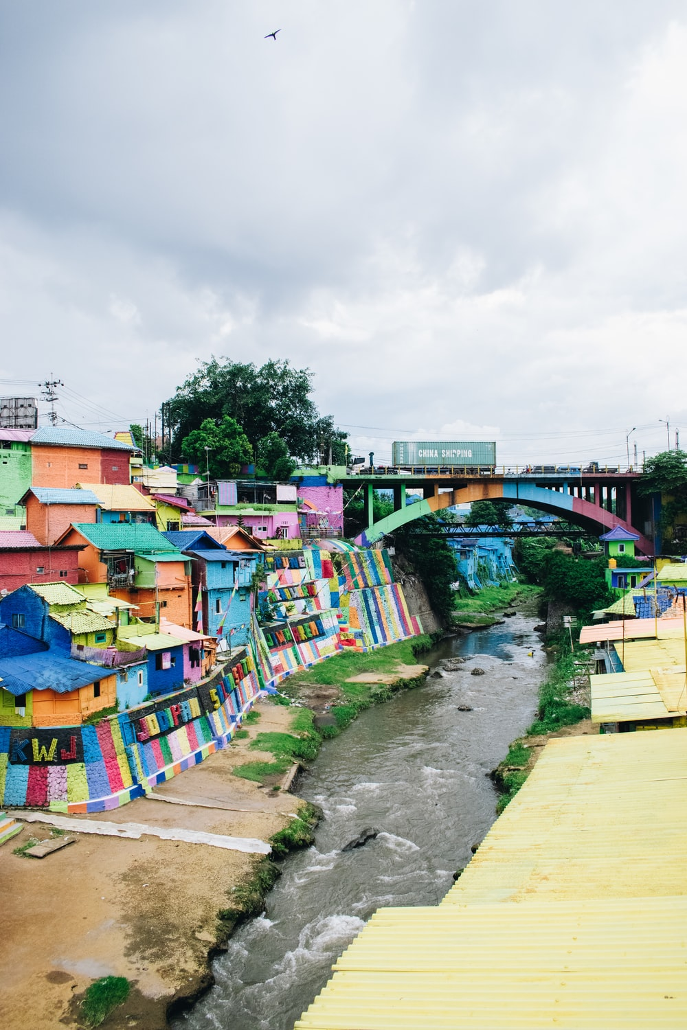 multicolored painted steel bridge