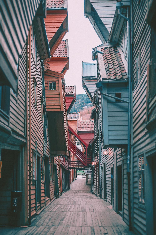 assorted-color houses between empty alley screenshot