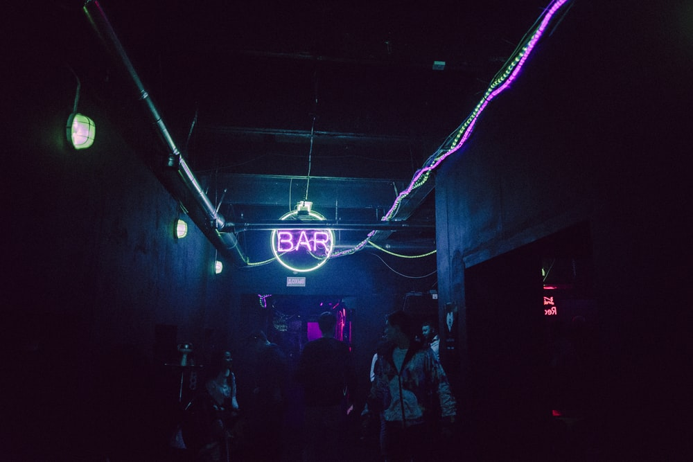 pink and blue bar neon lights