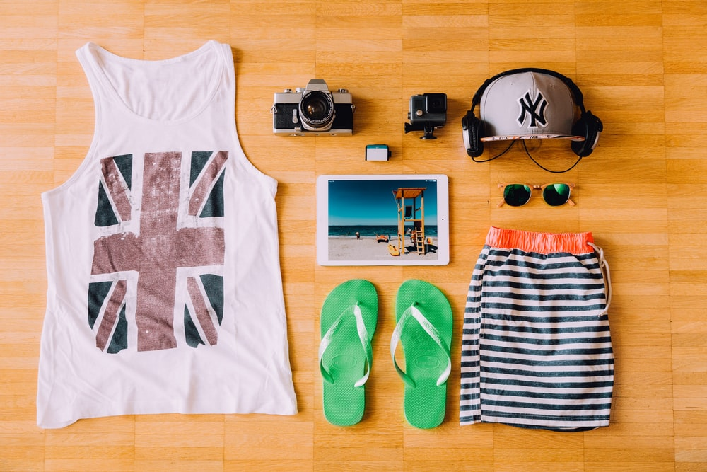 flat lay photography of outfit