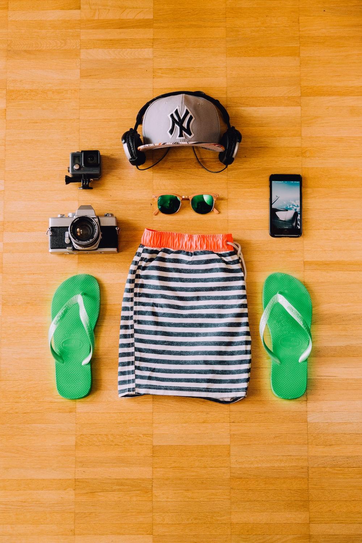 pair of green flip-flops