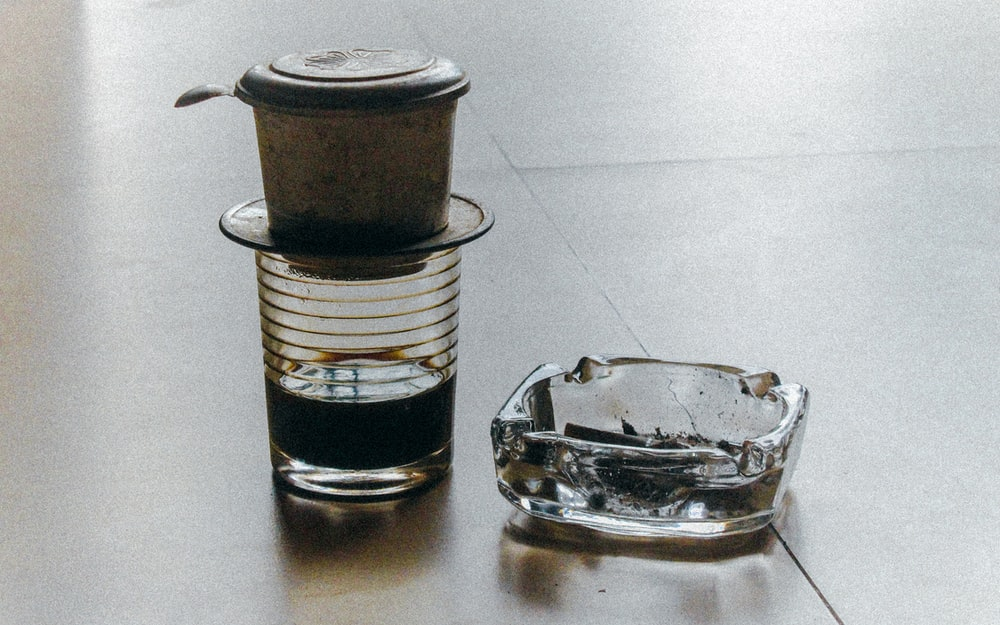 coffee filter beside ashtray