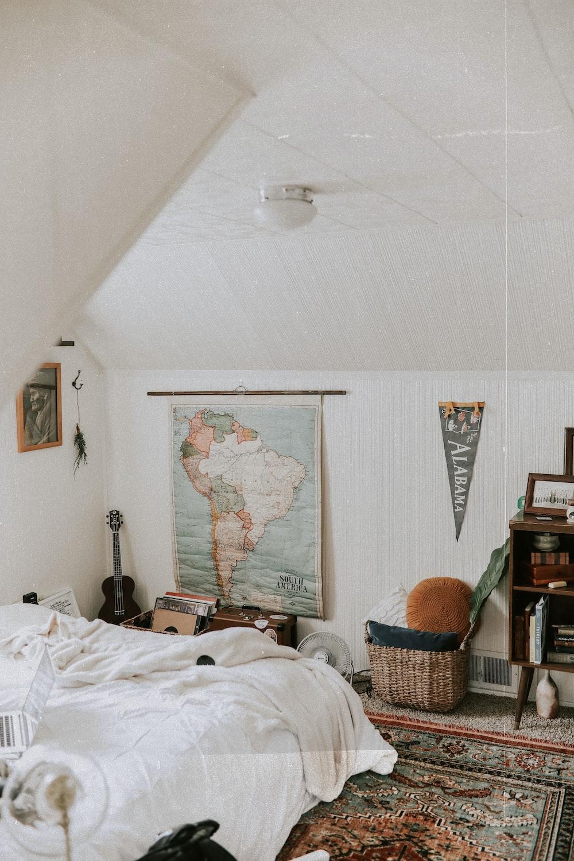 white bed sheet