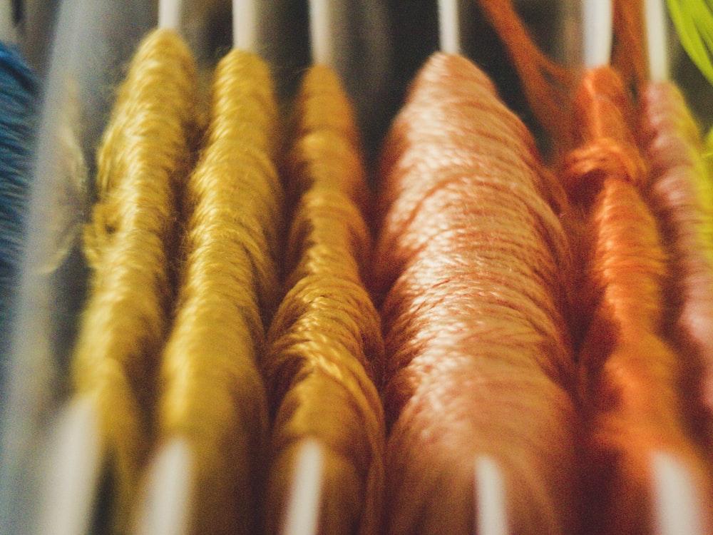 yellow and orange yarns