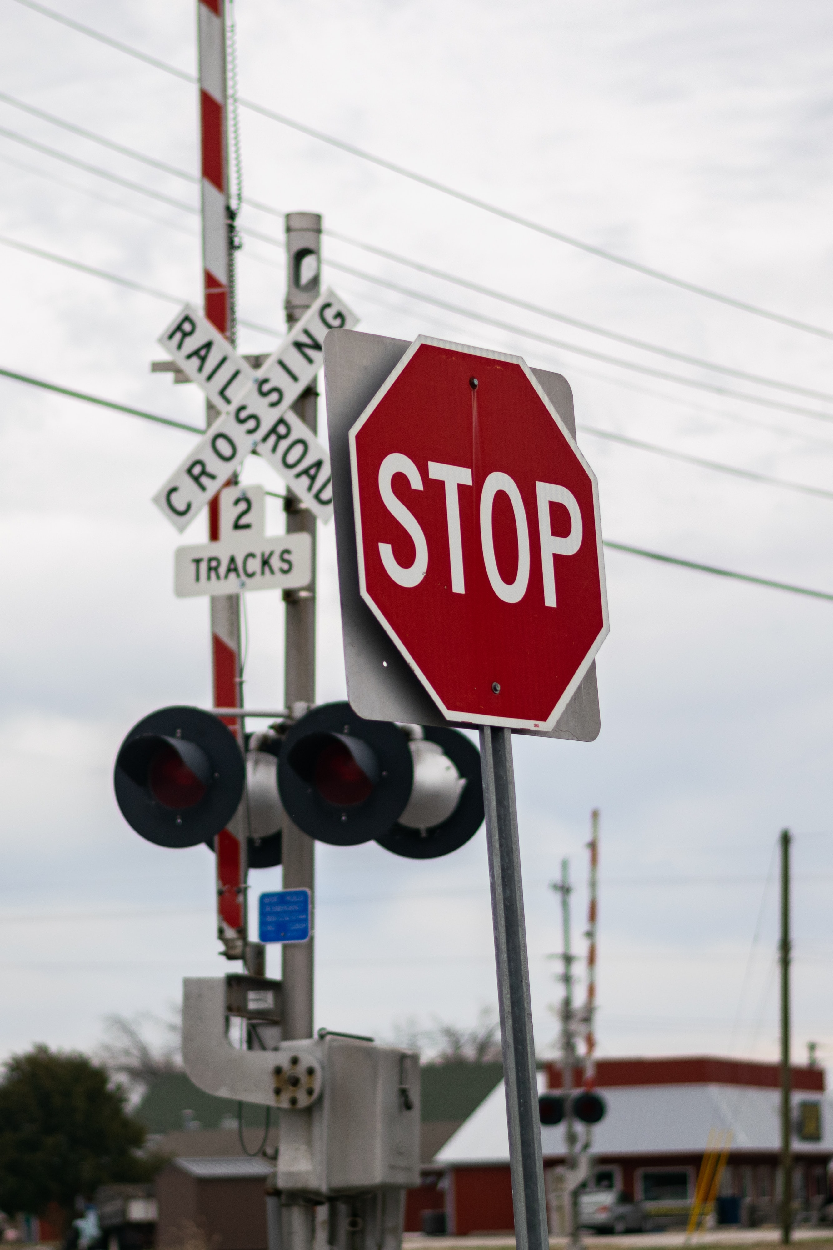 Stop signage near traffic lights