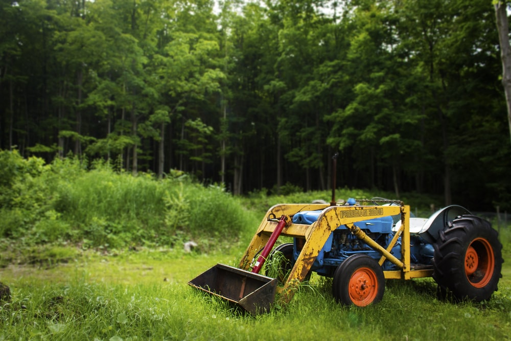 yellow excavator on green grass