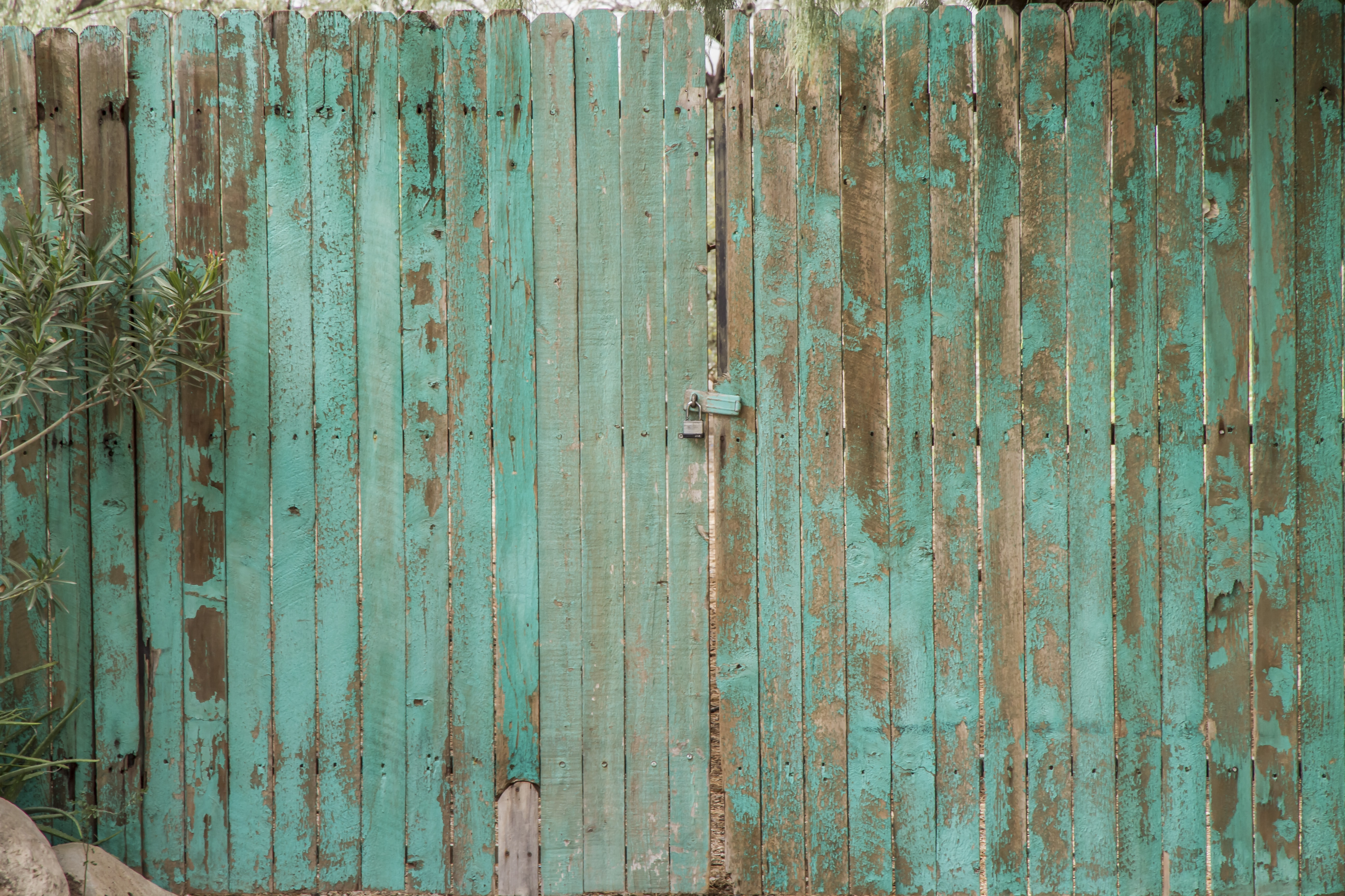 teal wooden gate