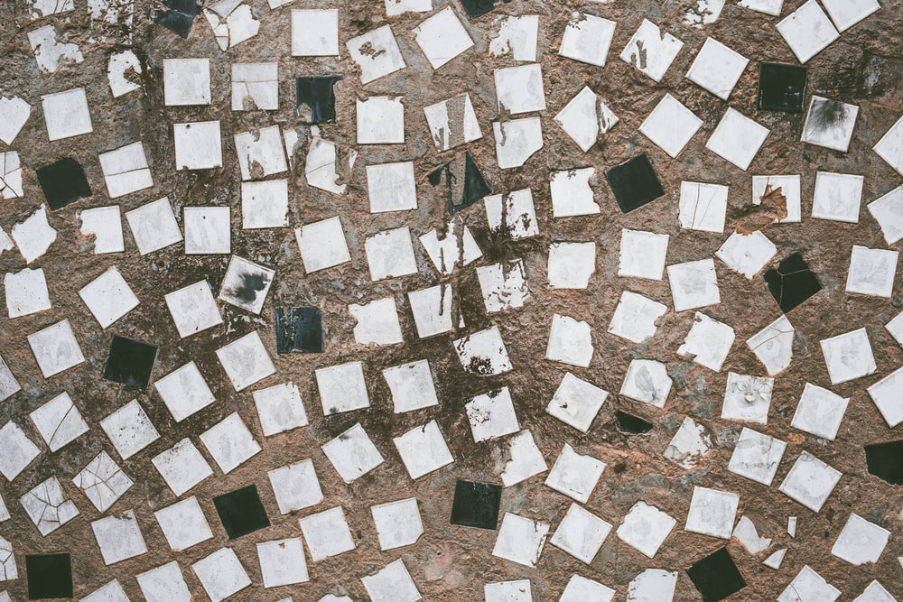 aerial photography of white and black houses