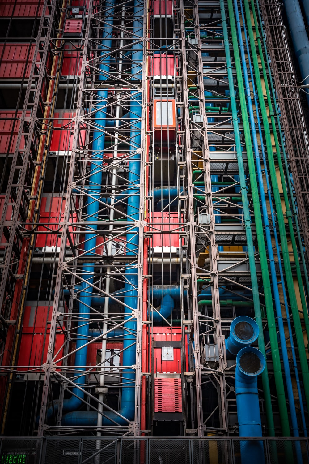 red and blue intermodal container