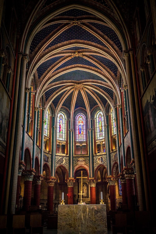 golden crucifix inside a church