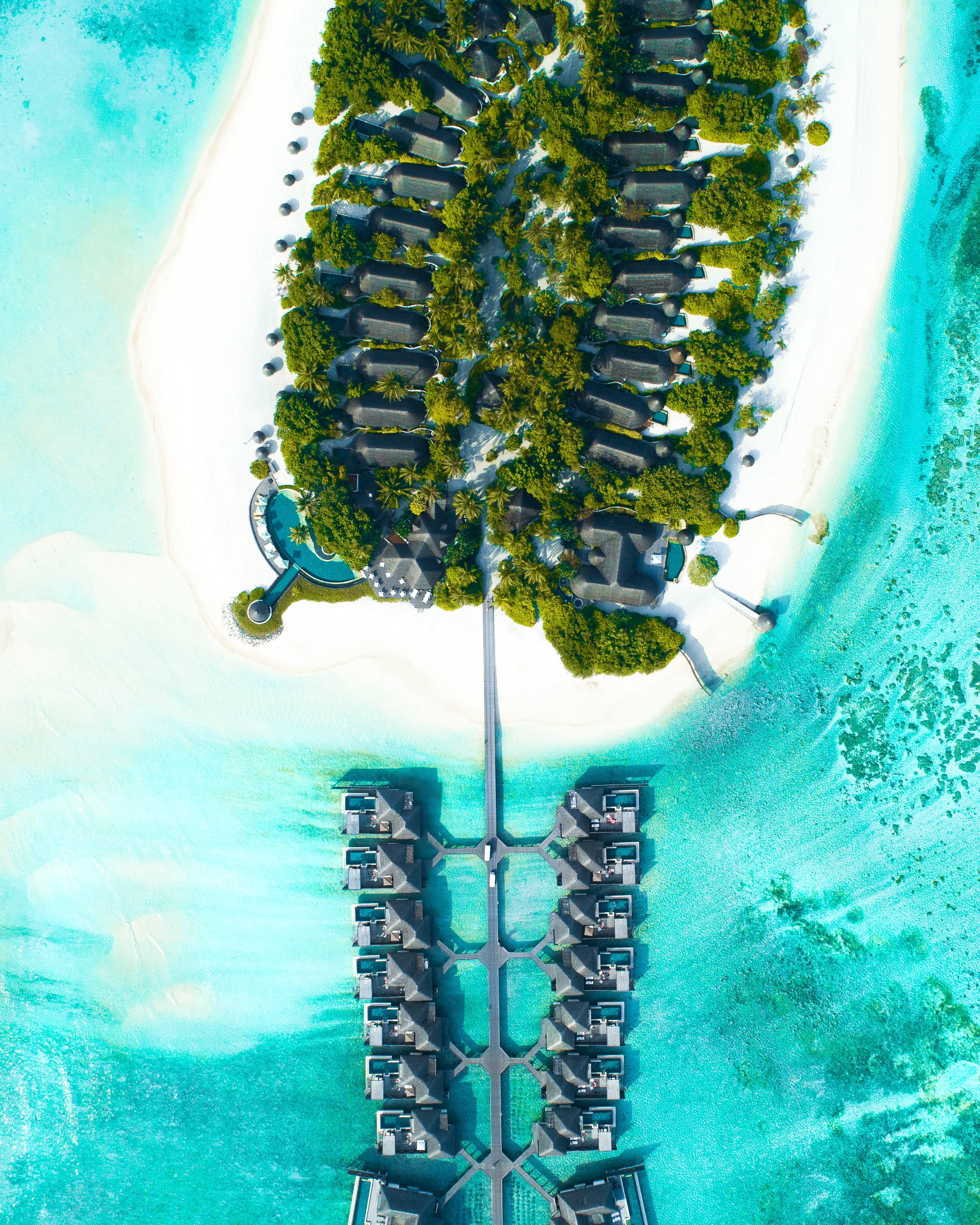 high-rise view of island