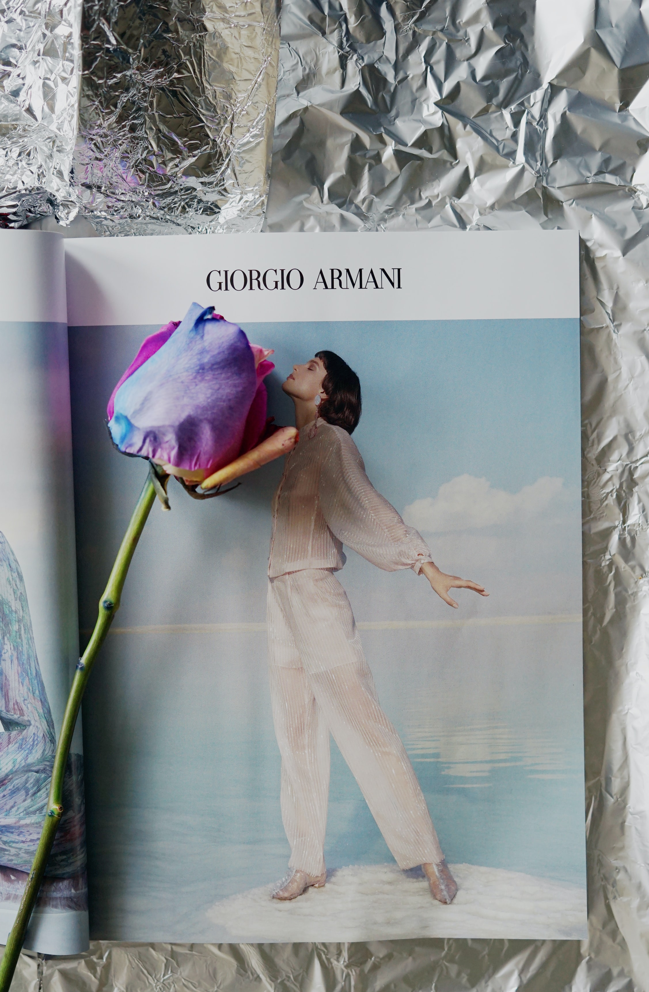 Giorgo Arman book with multi-colored rose