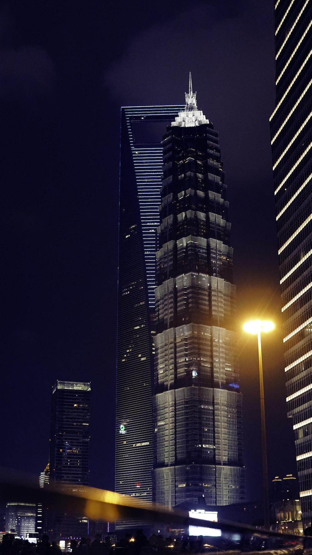gray curtain buildings at night