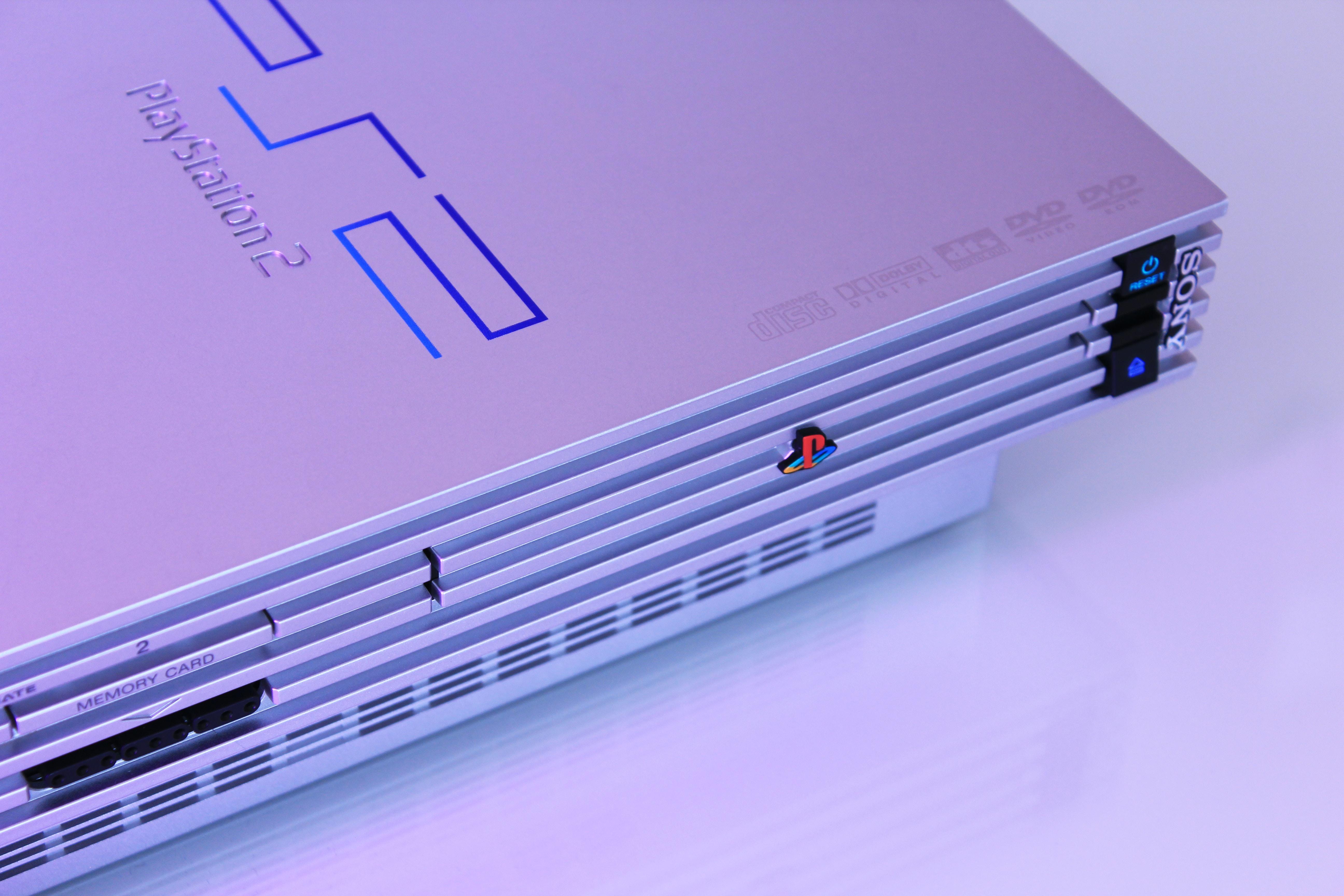 gray Sony PS2 console
