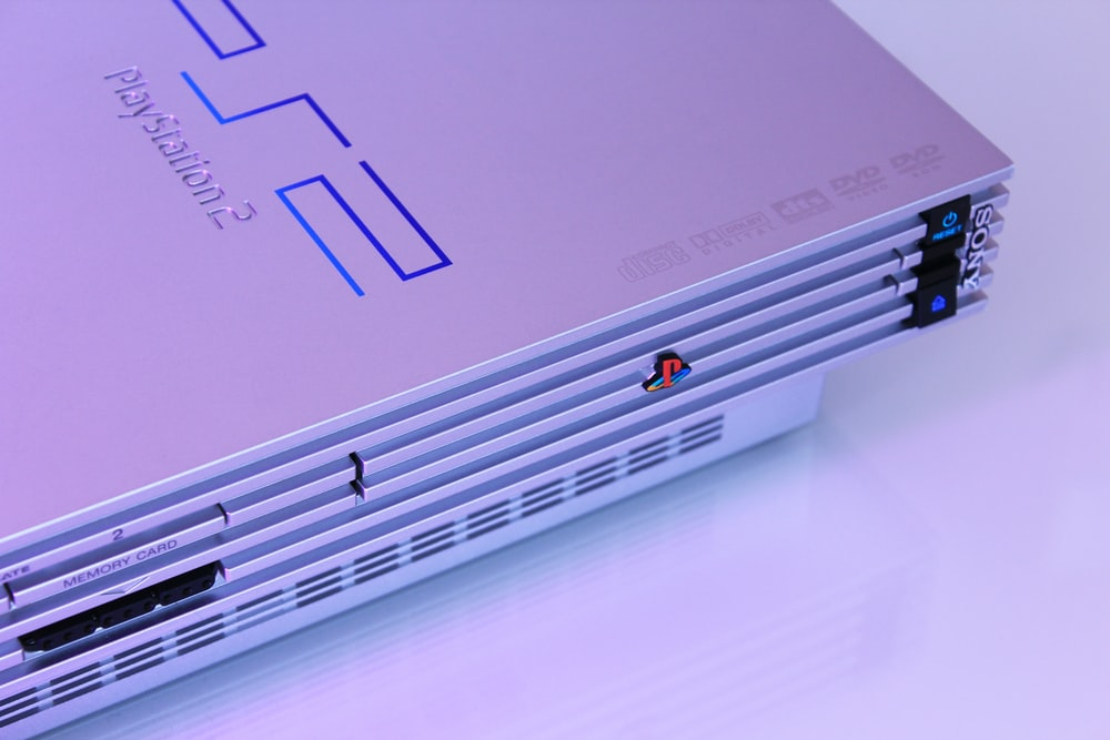 gray Sony PS2 console
