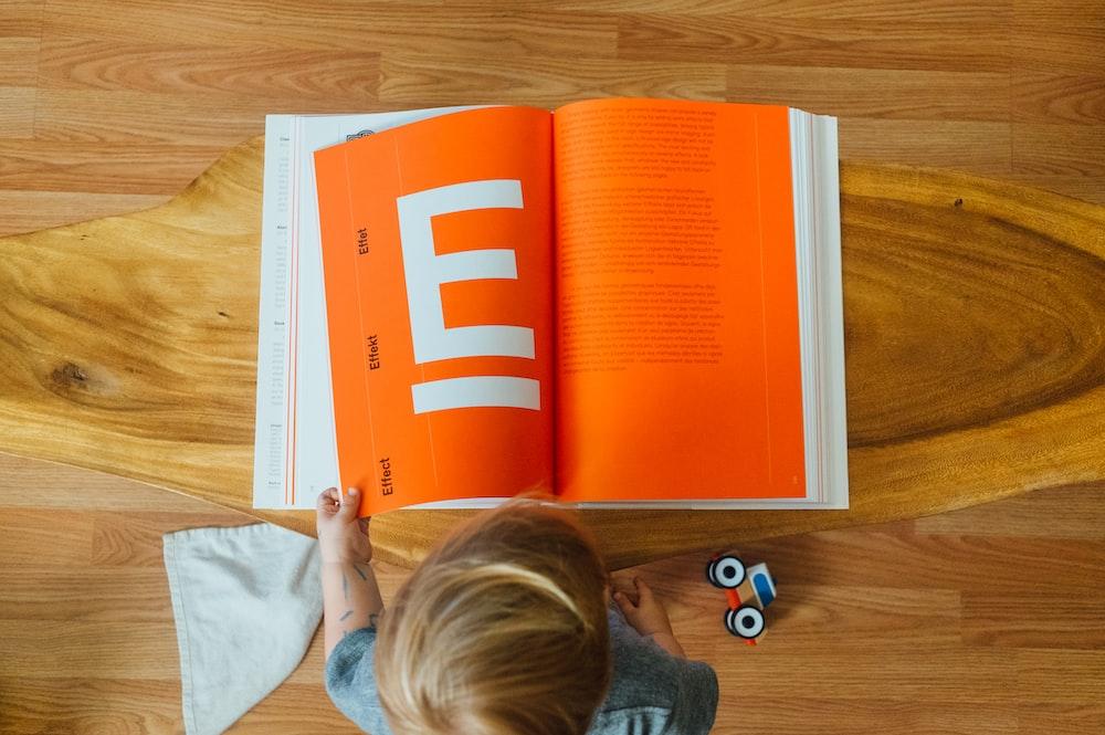 orange and white book page