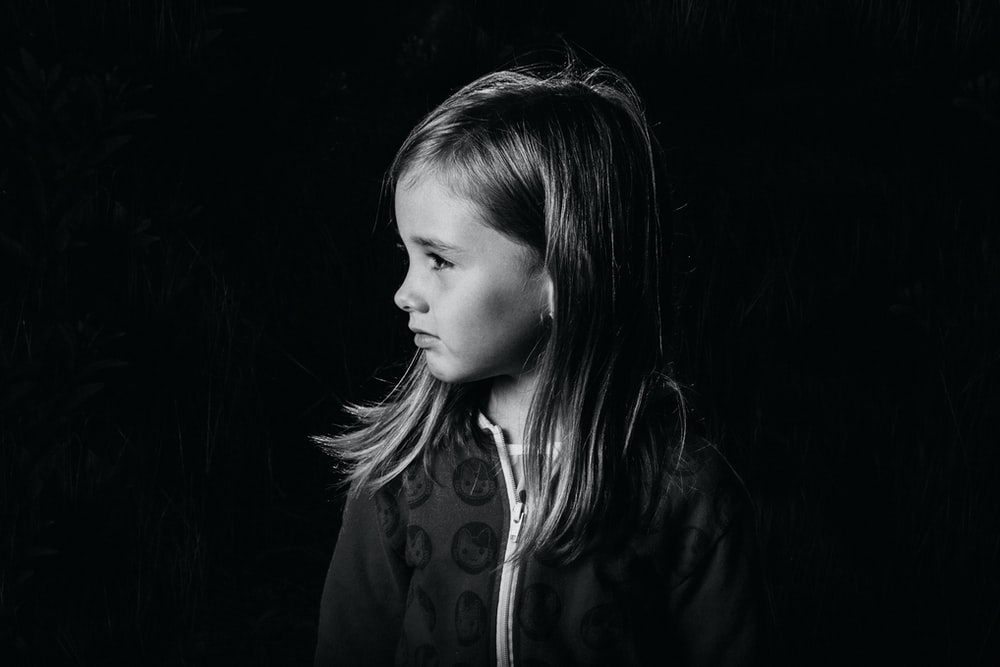 grayscale photo of girl