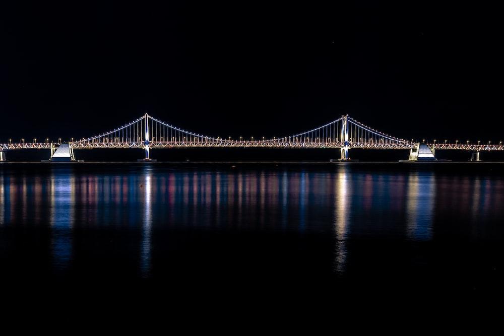 suspension bridge during nihgttime