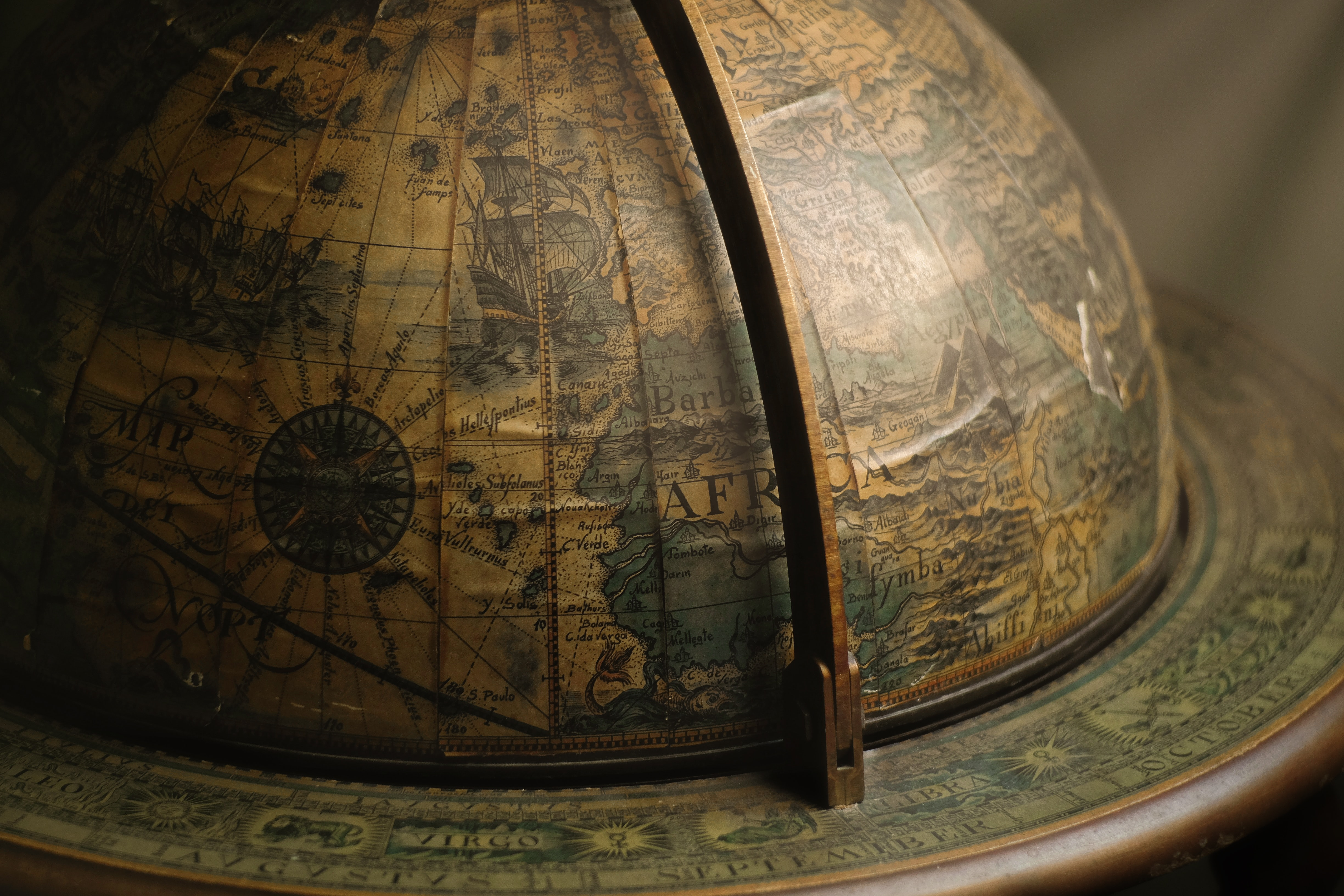brown terrestrial globe