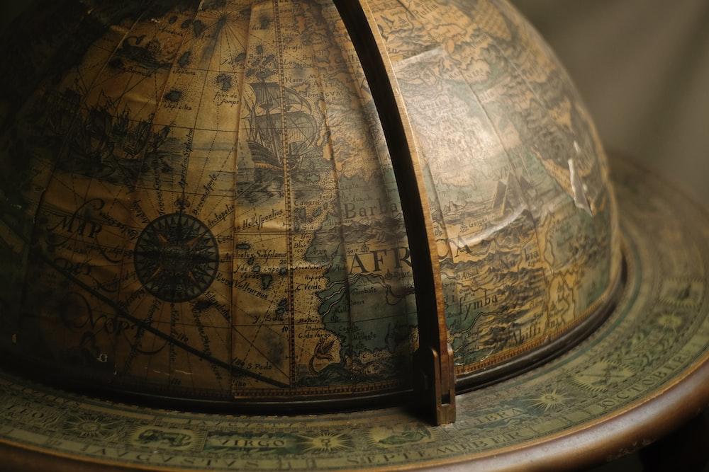 brown terrestrial globe