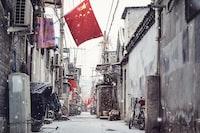 China flag near building