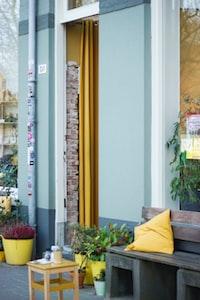 yellow throw pillow in brown wooden bench near purple selocia
