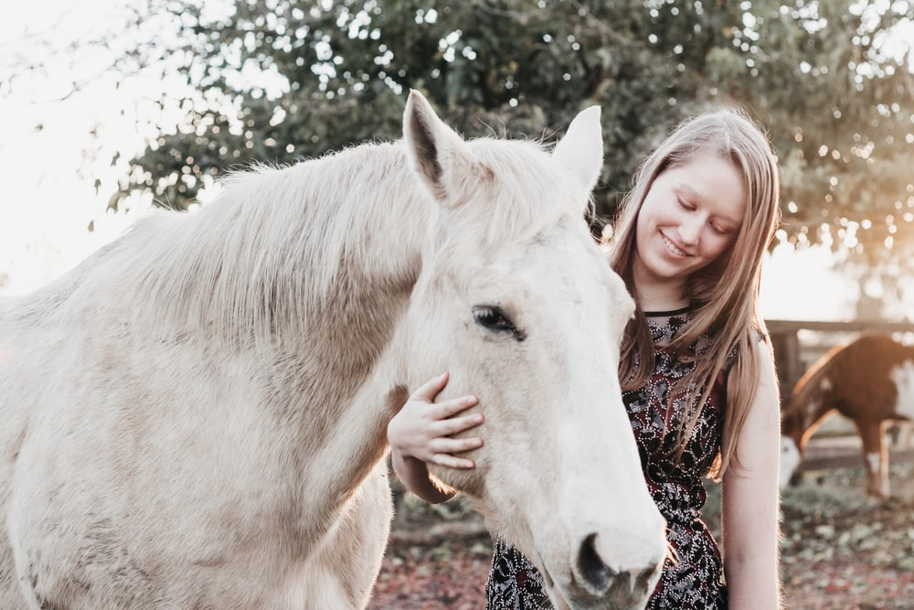 smiling woman holding white horse during daytime