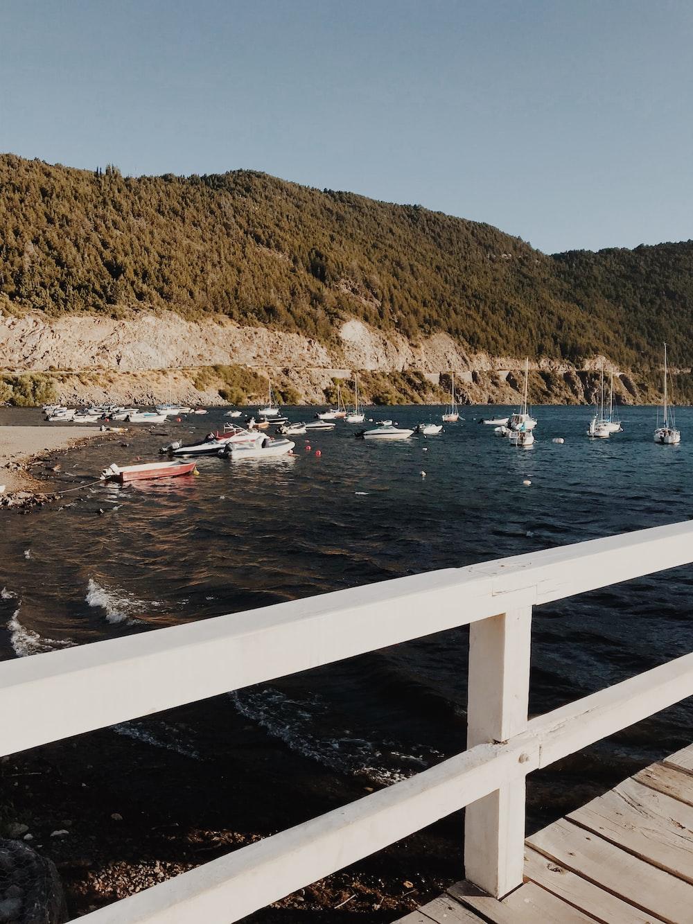 motorboats on body of water near white wooden docks