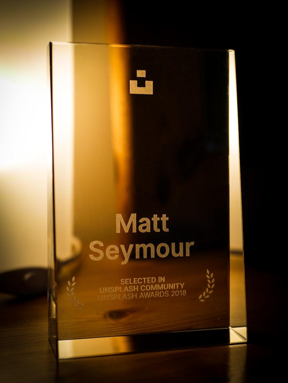 Matt Seymour plaque on desk