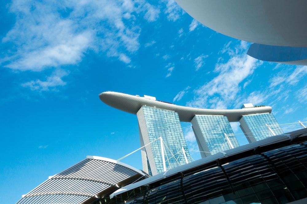 Marina Bay Sands hotel under blue sky