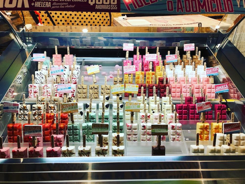 multicolored food on rack