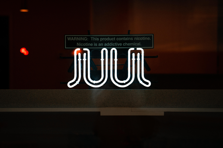white JUUL neon signage