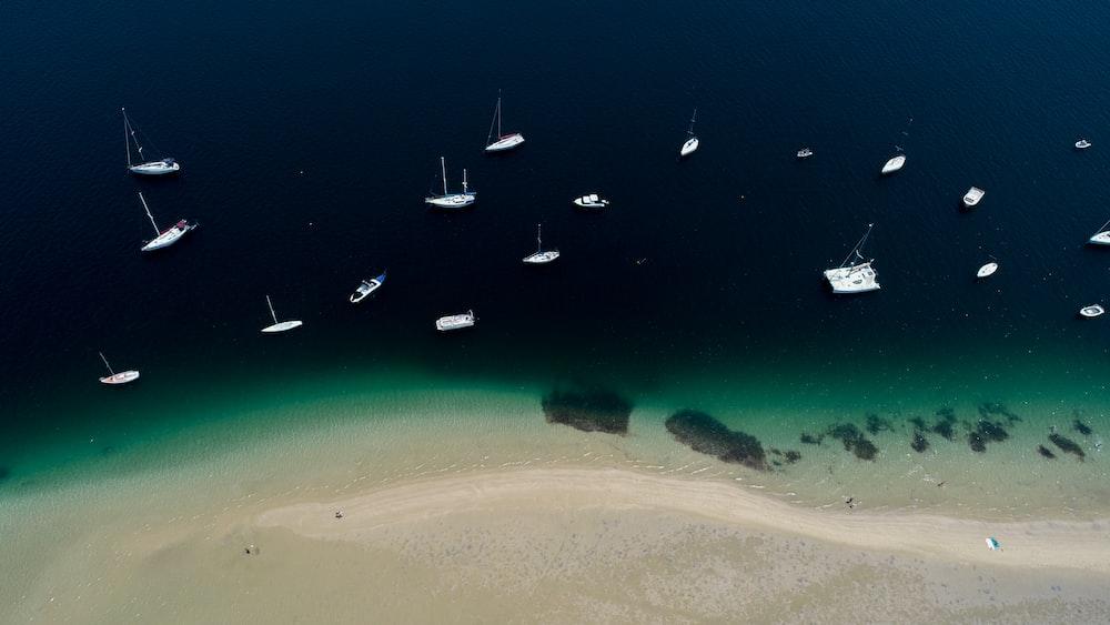 white boats on sea viewing seashore