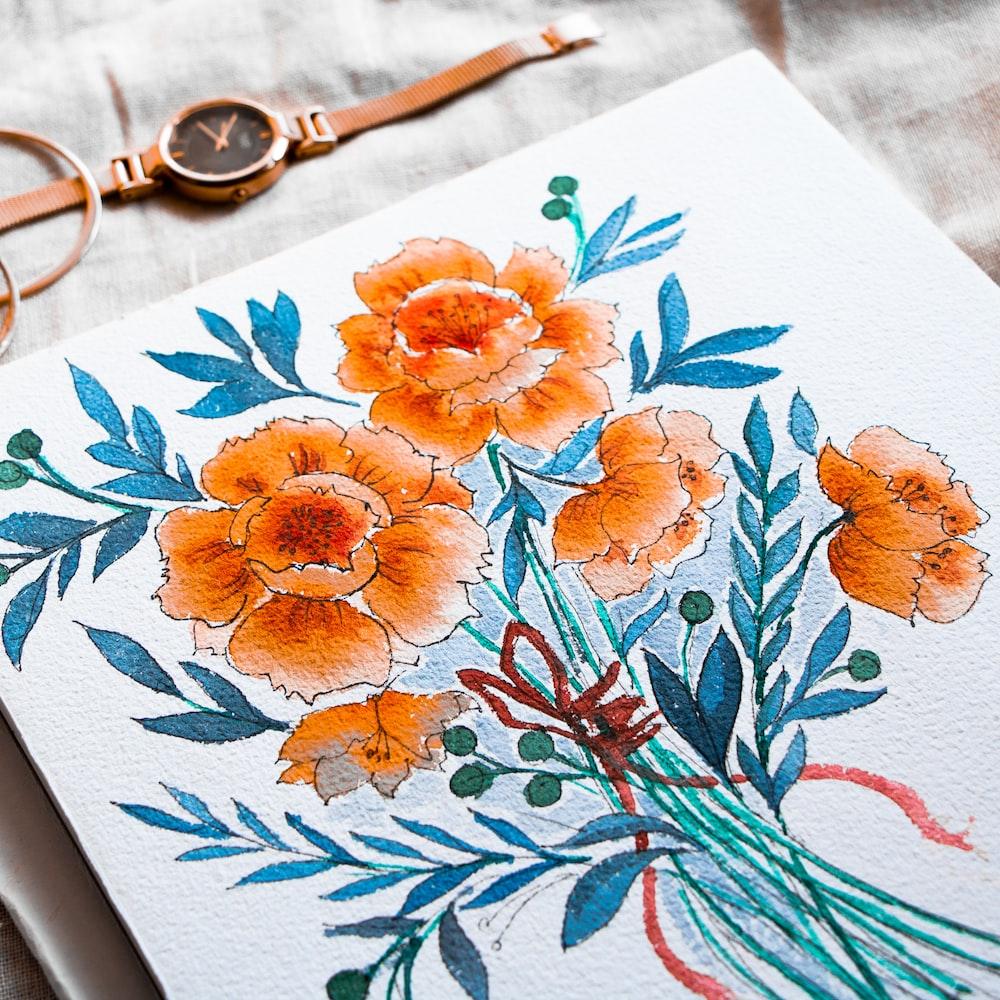 orange flowering plant drawing