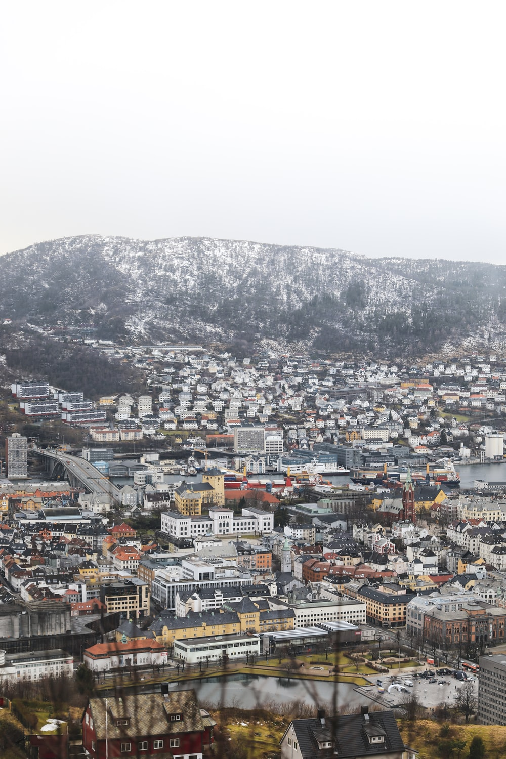 aerial photography of city during winter season