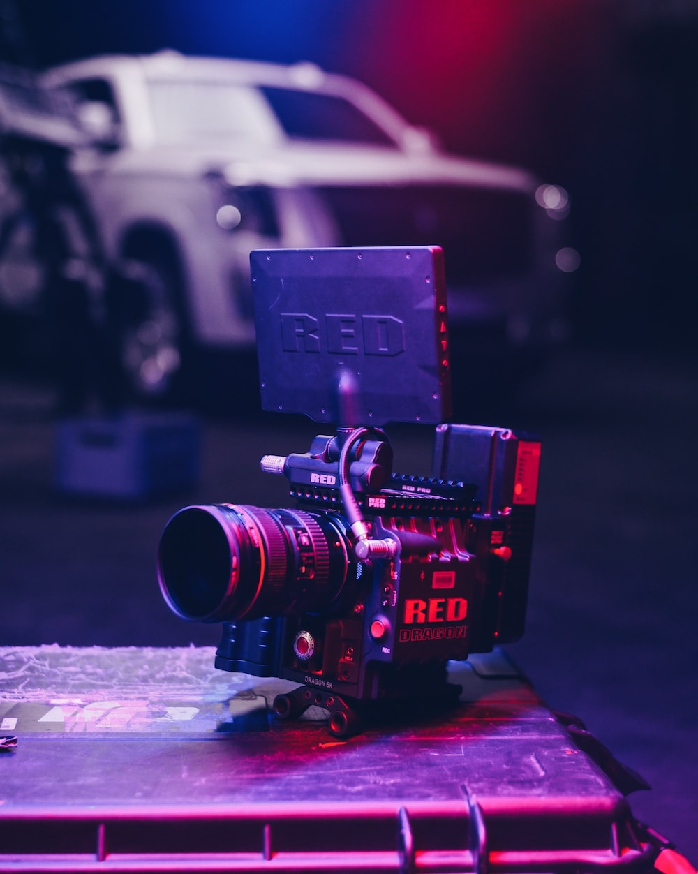 black camera with RED case