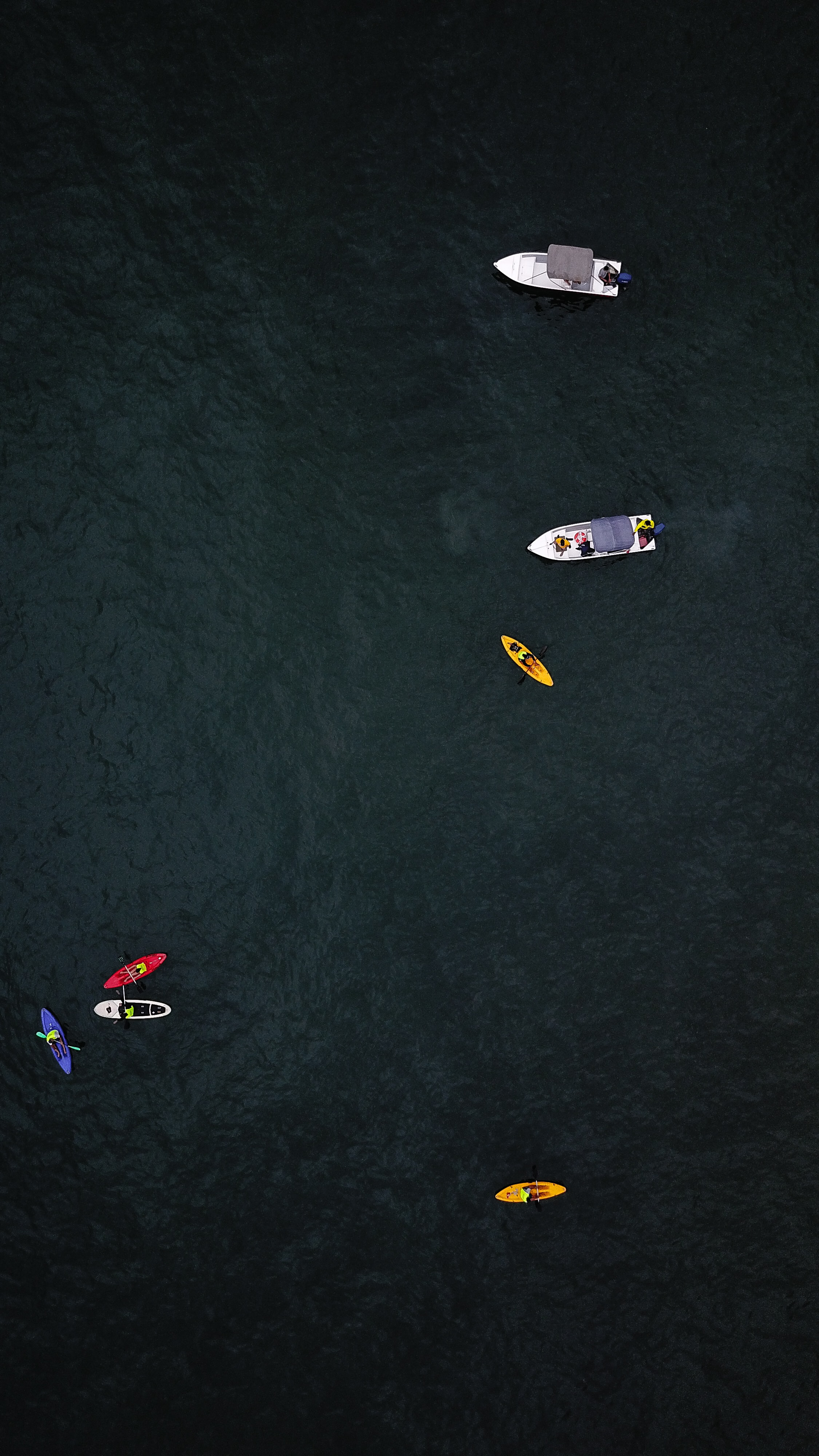 several boats and kayaks on dark water