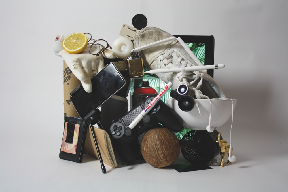 pile of assorted-color products