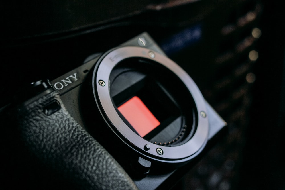 black Sony camera body in close-up photography