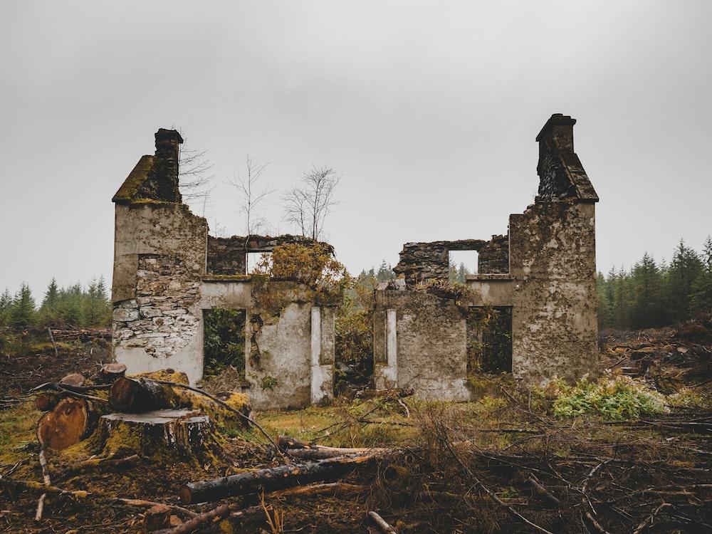 abandoned concrete house
