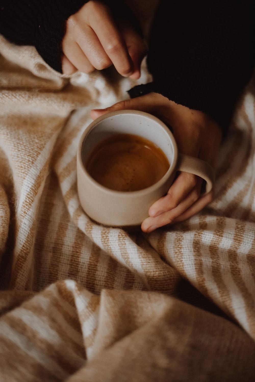 coffee in a brown mug