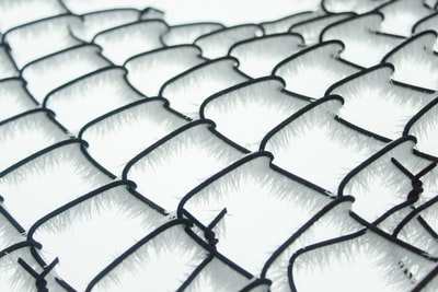 black and white chain link fence