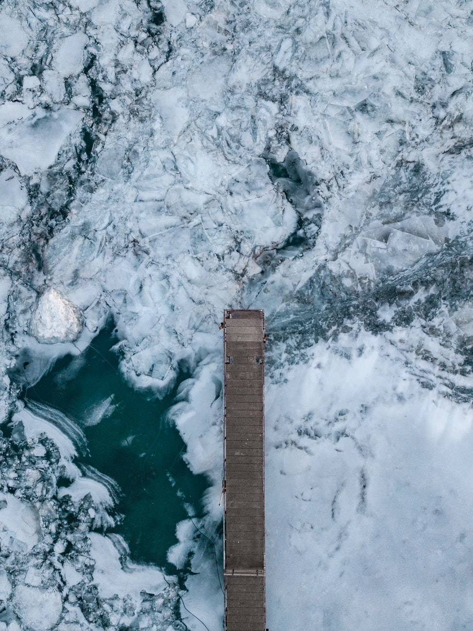 dock on frozen lake detroit