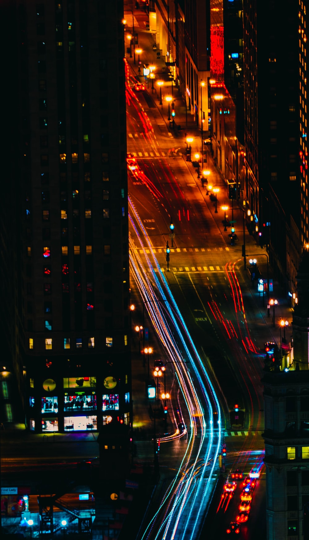 aerial view photography of vehicles at nighttime