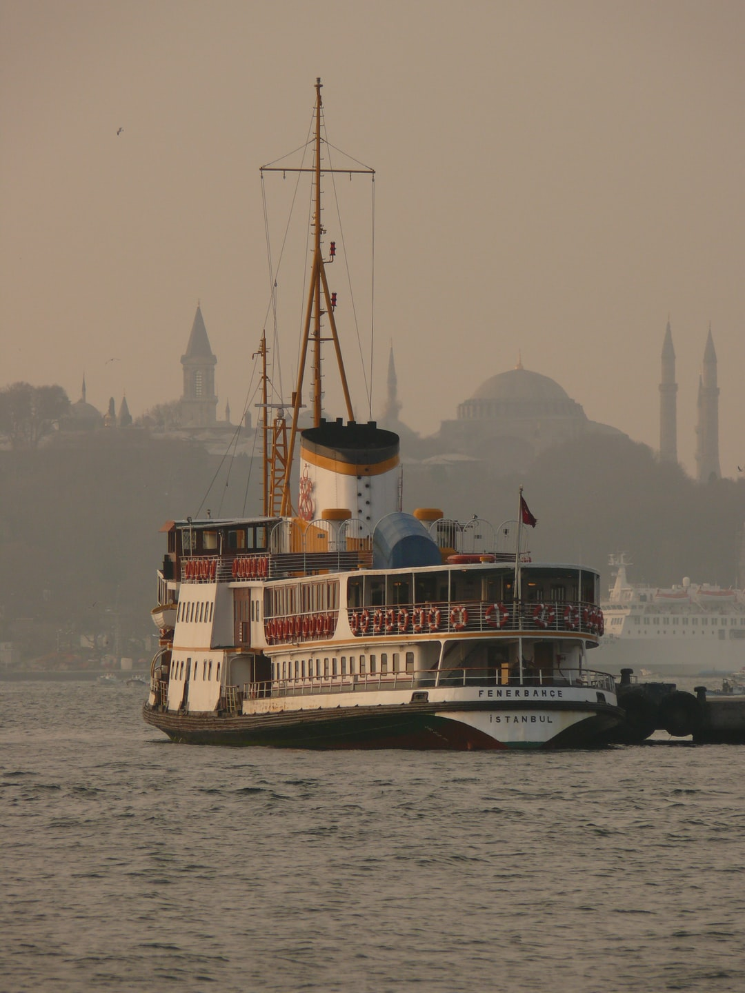 Fenerbahçe steamboat has run on the Bosphorus for decades but that she had to retire. This was one of her last looks at the historical peninsula
