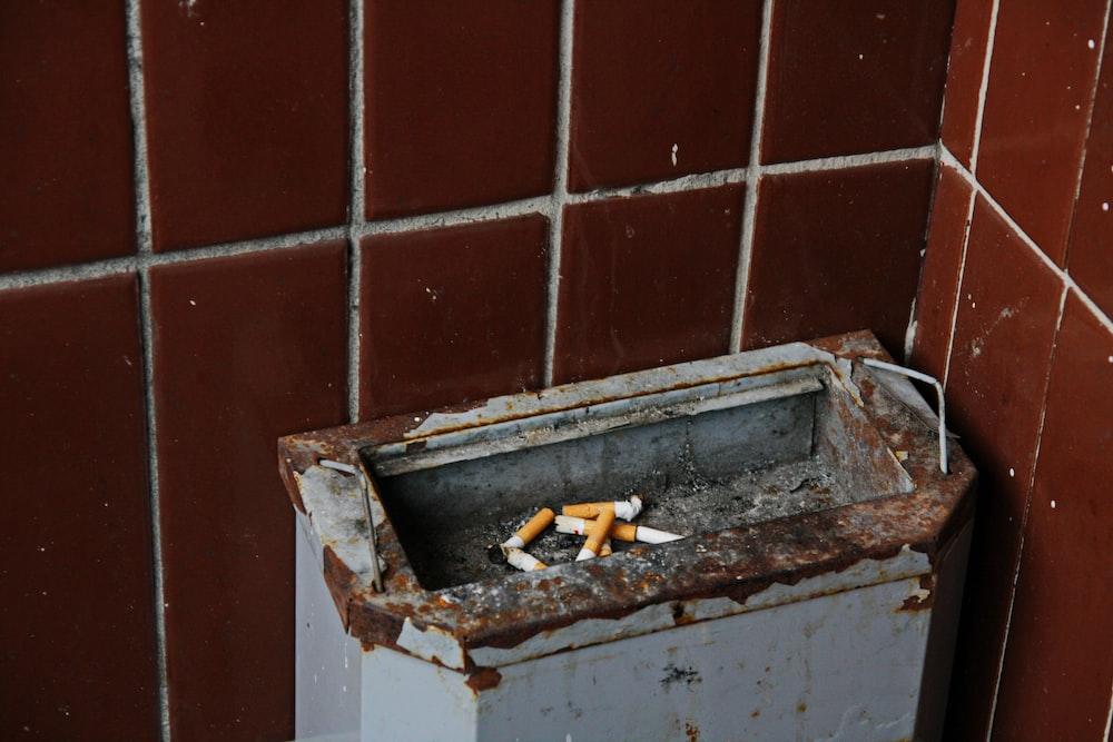 rectangular gray ashtray