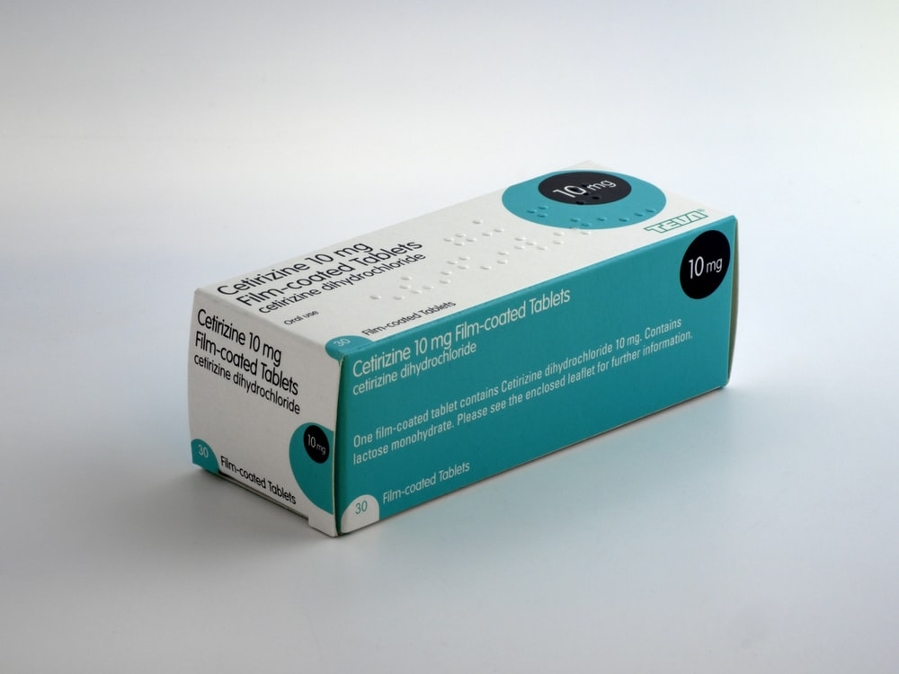 blue and white labeled box