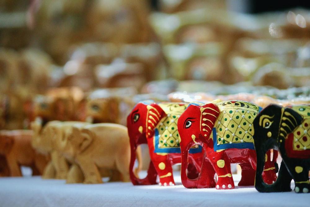 three elephant figurines