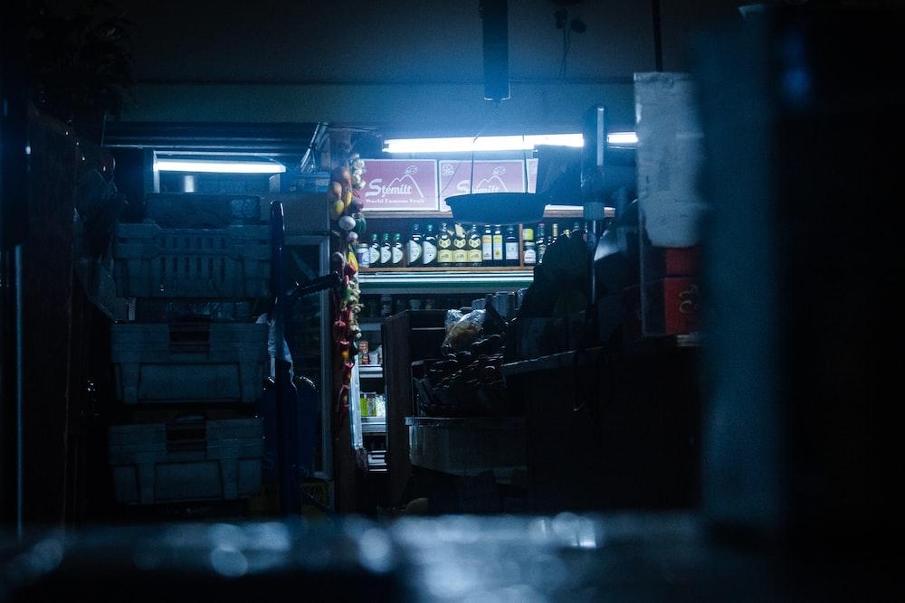 lighted empty liquor shop